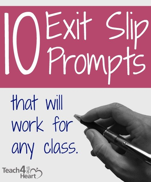 10 Exit Slip Prompts That Will Work For Any Class Teach 4