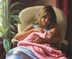 painting by Jon Kardamis - a mother's tender love