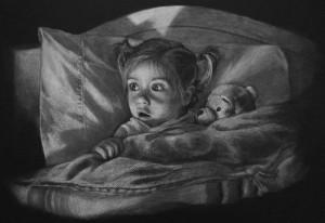 Raela Boo- White Charcoal on Black Paper