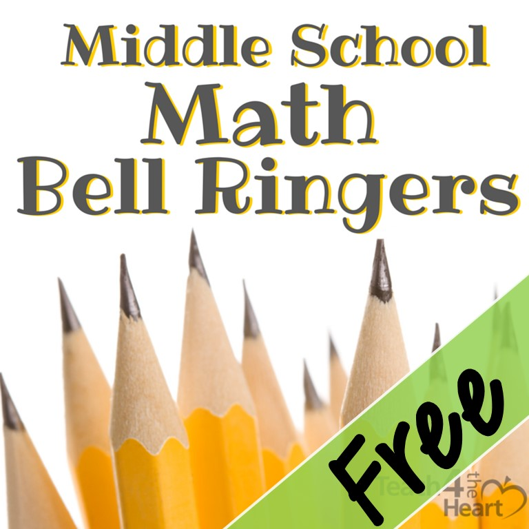 Middle school math bellringers free set