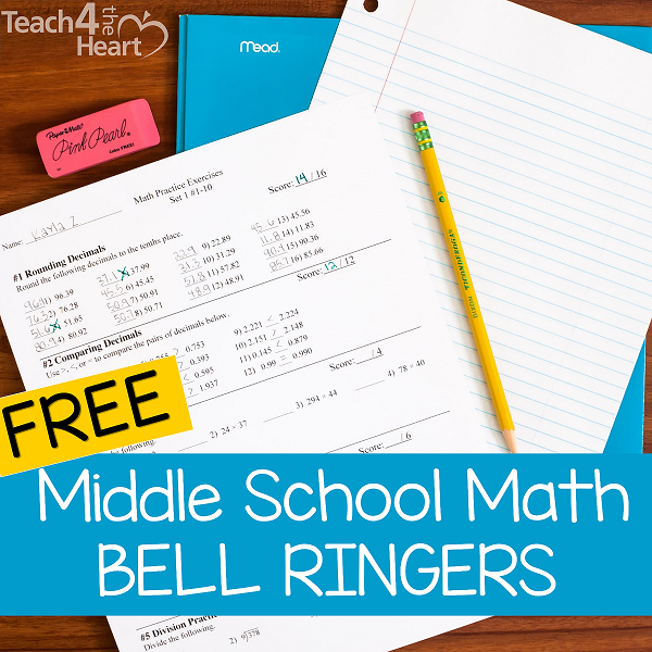 free math bell ringers for middle school