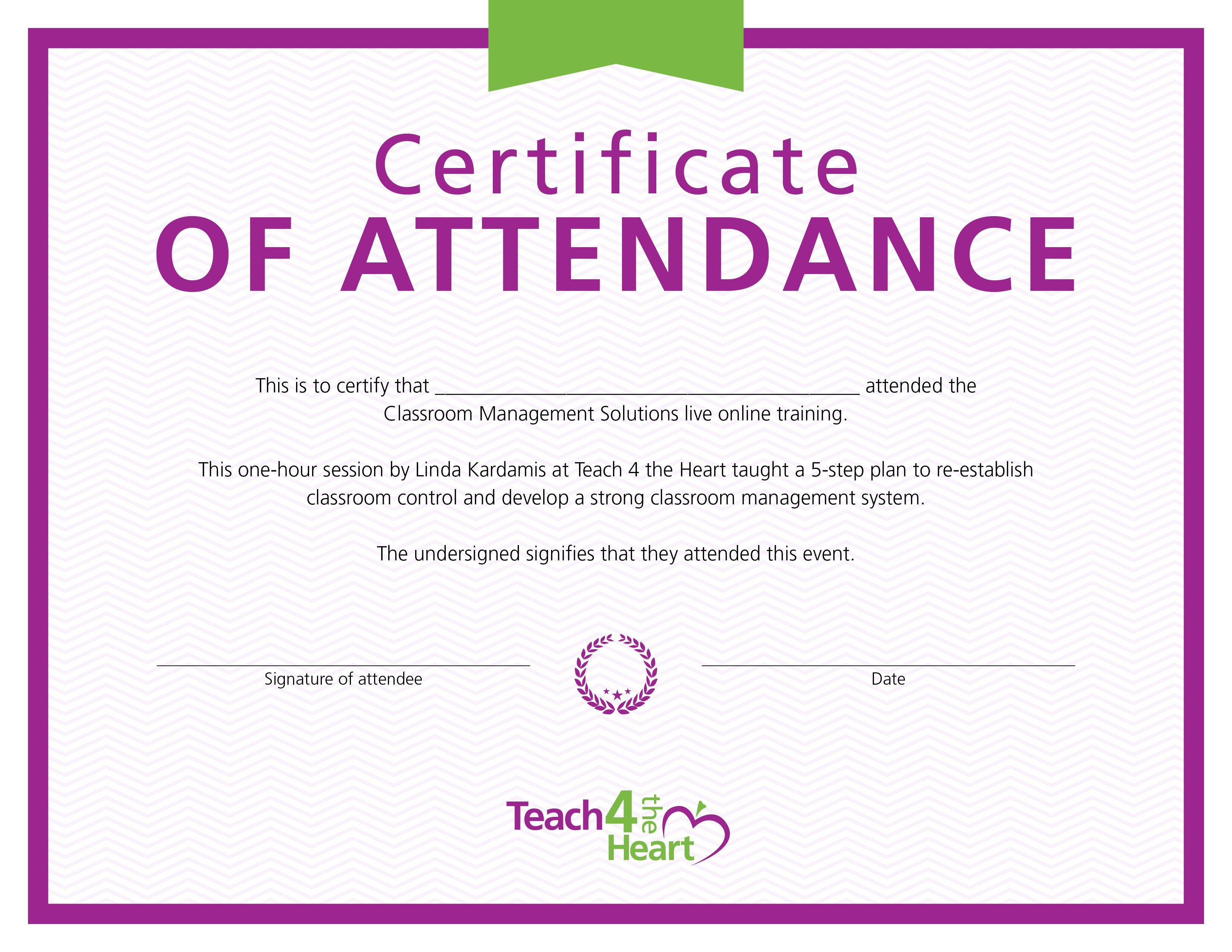 Certificate of attendance classroom management solutions live download certificate xflitez Images