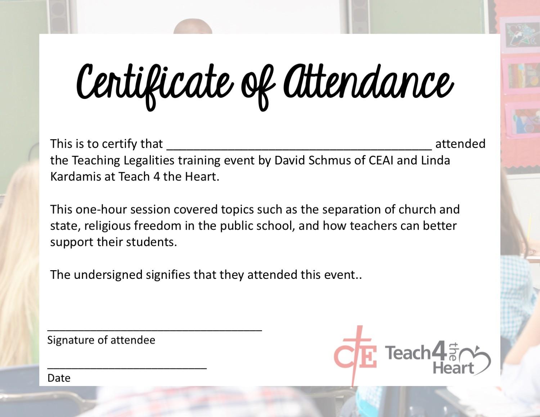 Certificate Of Attendance Teach With Faith Teach 4 The Heart