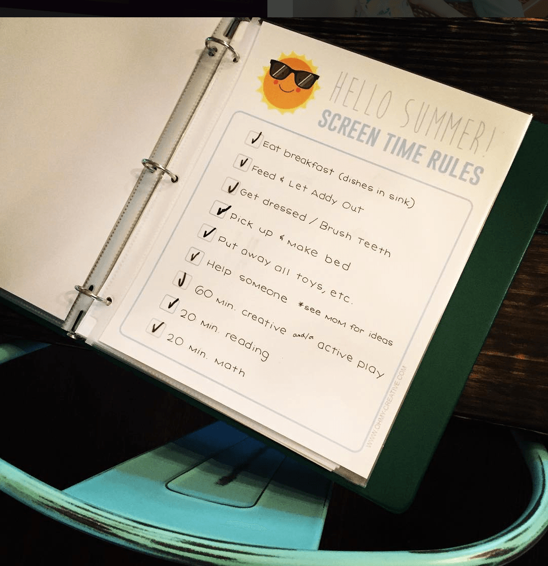 screen time checklist for summer - teacher mom ideas