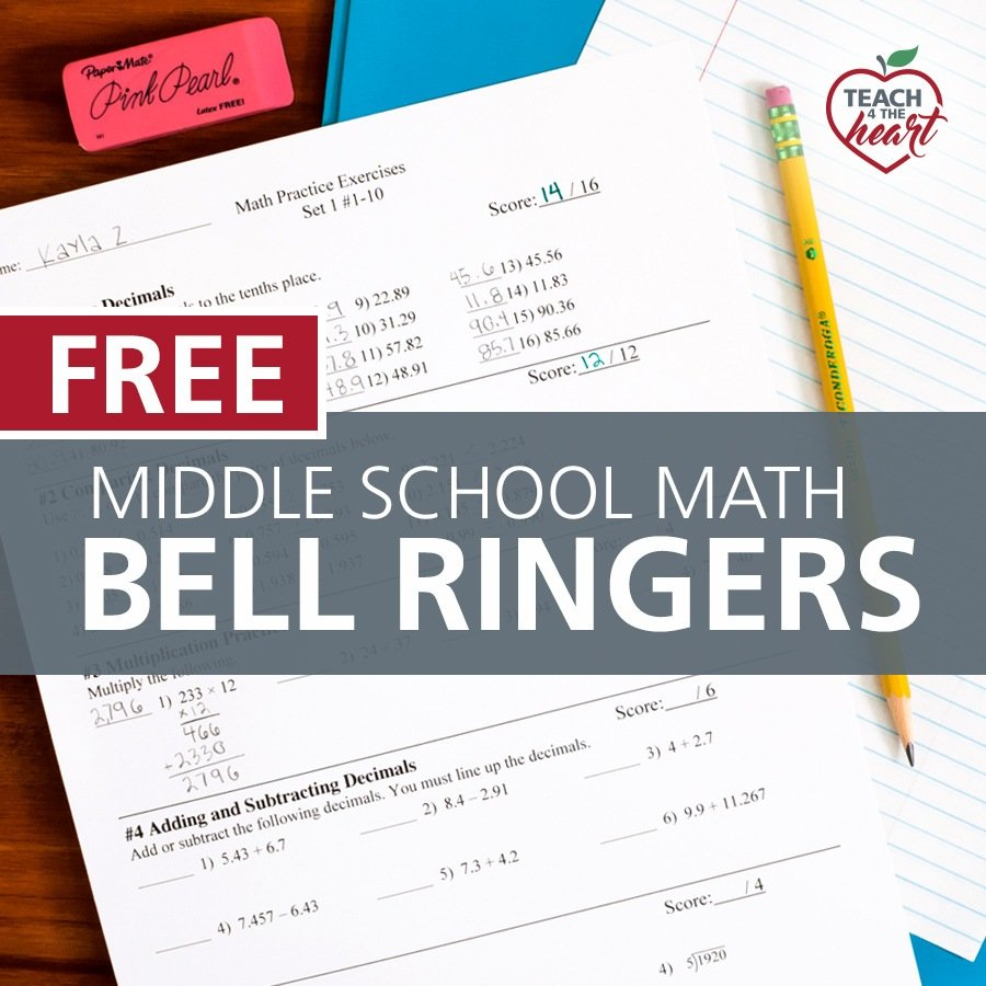 free middle school math bell ringers