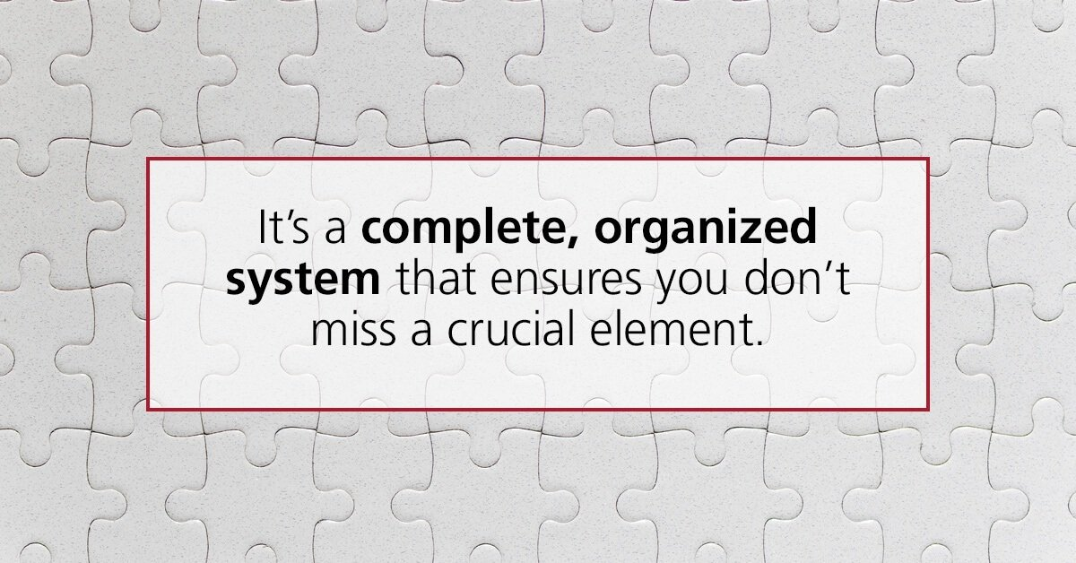 It's a complete, organized system that ensures you don't miss a crucial element.